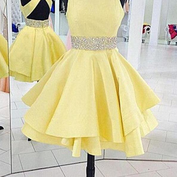 Beautiful Daffodil Short Backless Classy Charming Homecoming Dresses K344
